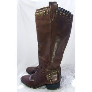 Elle brown metal studs riding boots